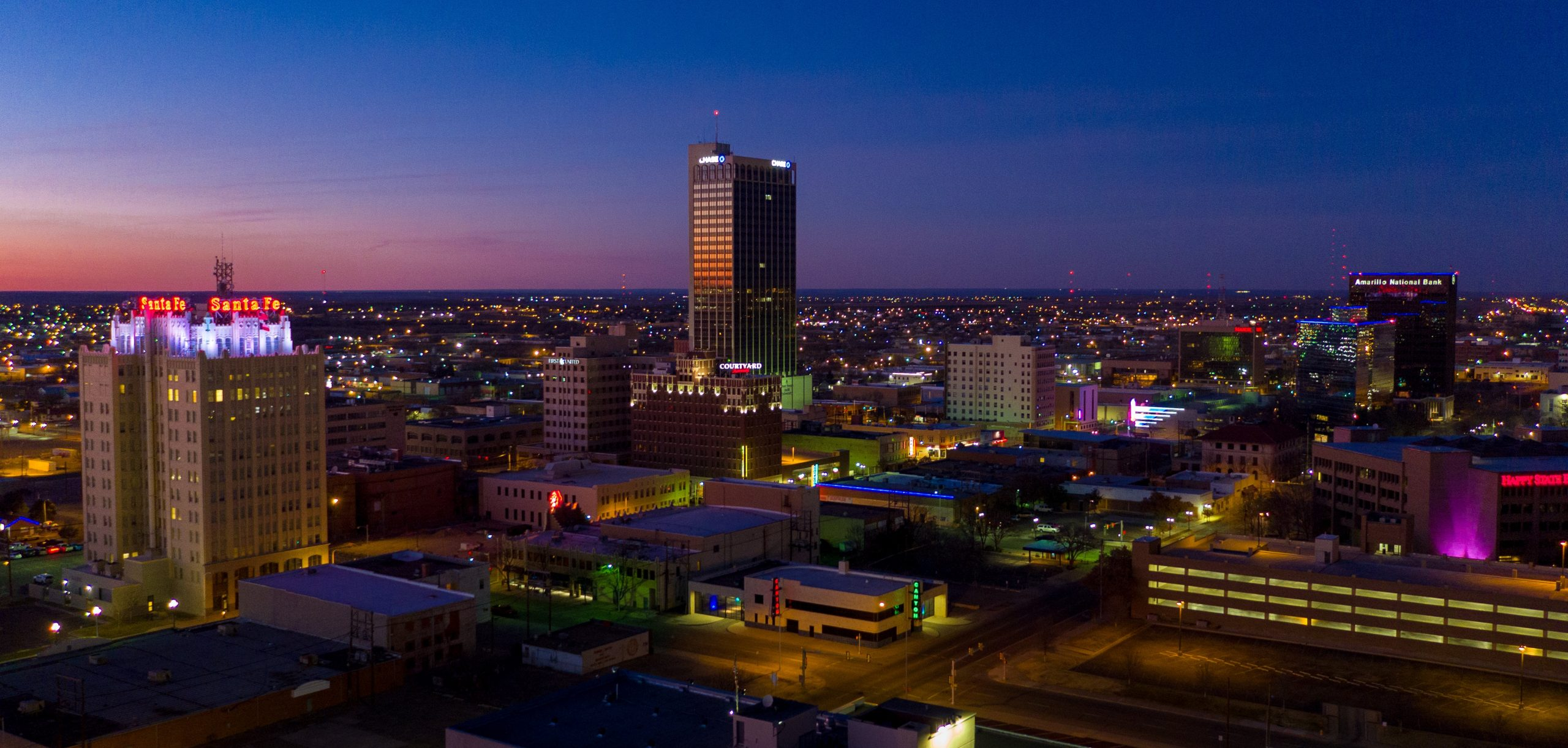 Shows the downtown view of Amarillo, Texas, where the author is doing her internship