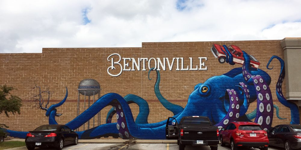 Mural of octapus on building in Bentonville, AR