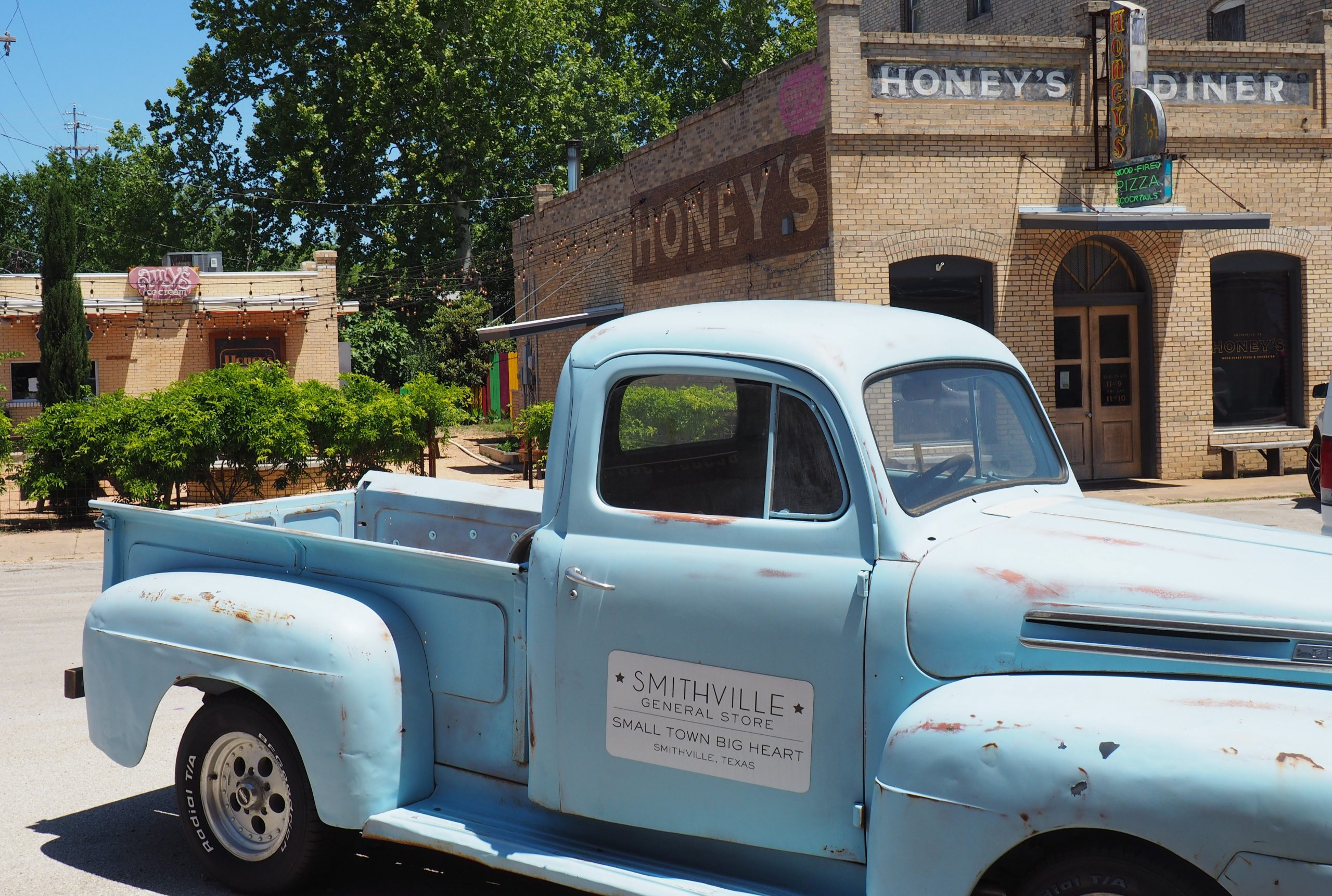 General store truck in small town