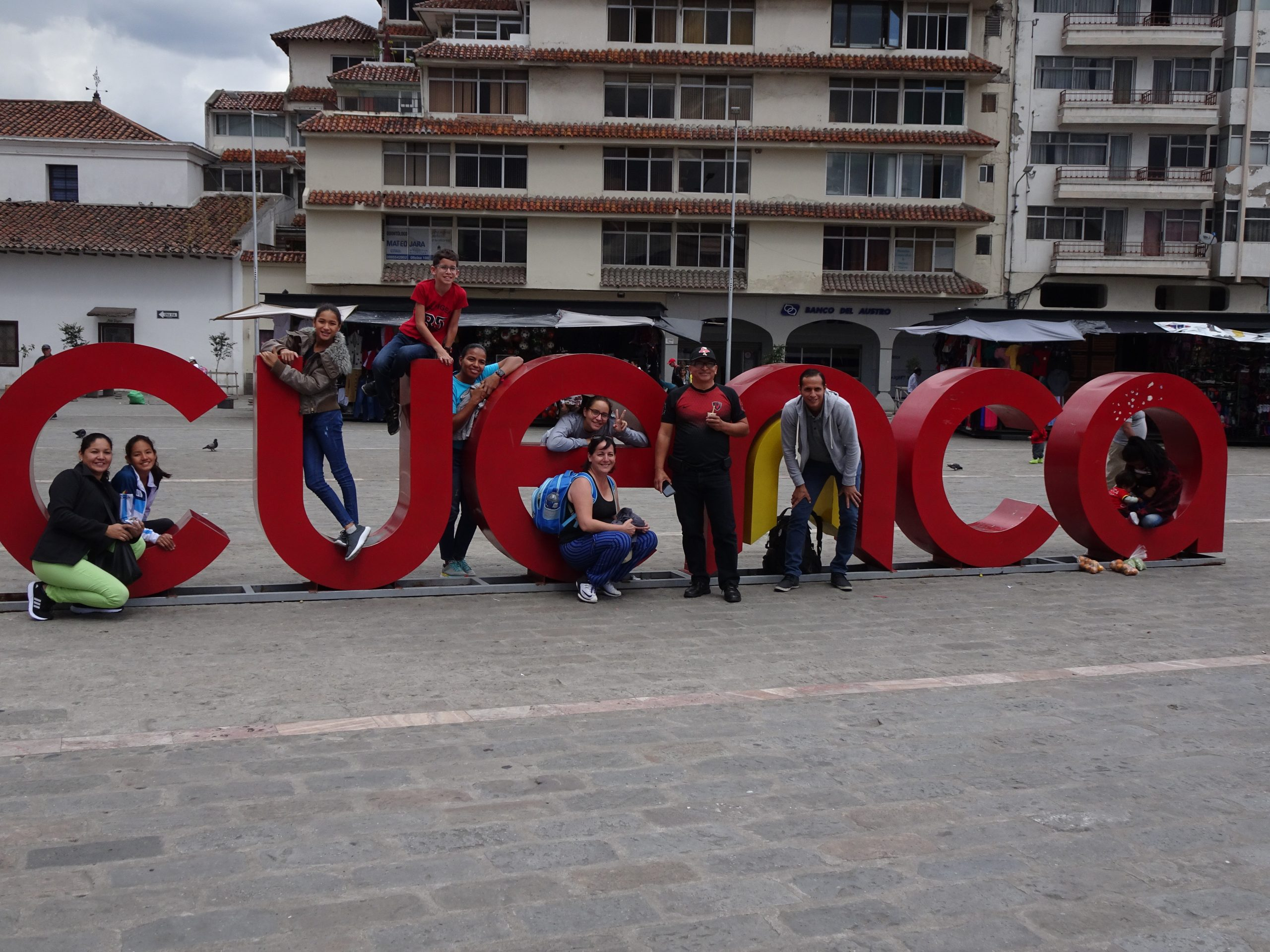 large letters in street spelling out