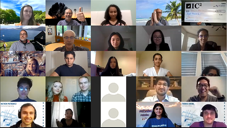 Students and staff in Zoom meeting