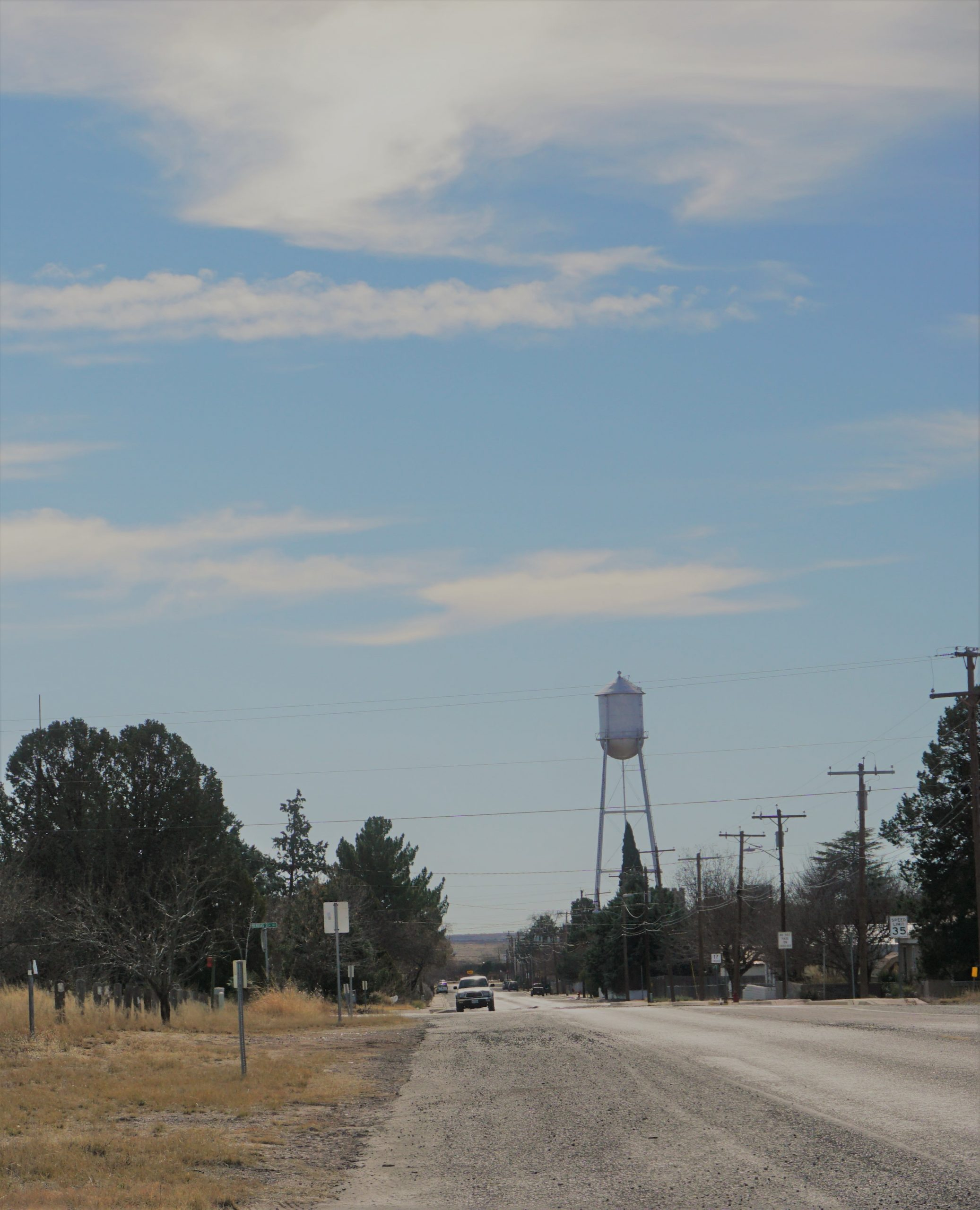 Marfa water tower seen from road