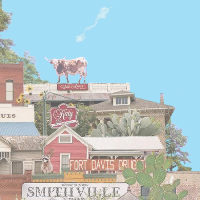 Cartoon rendering of images from small towns across Texas