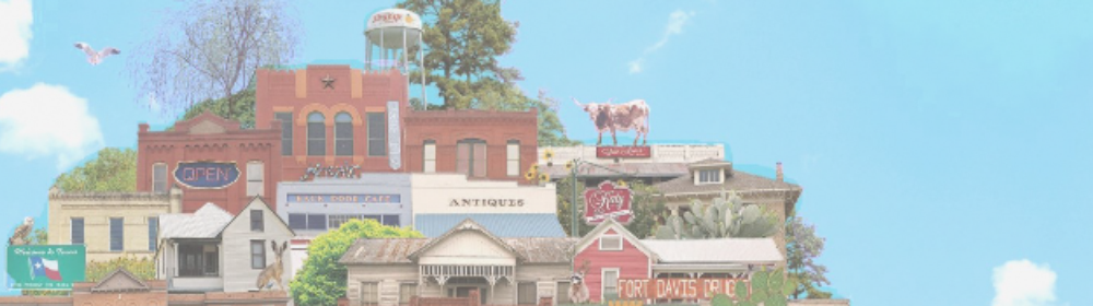 Cartoon version of small cities throughout Texas