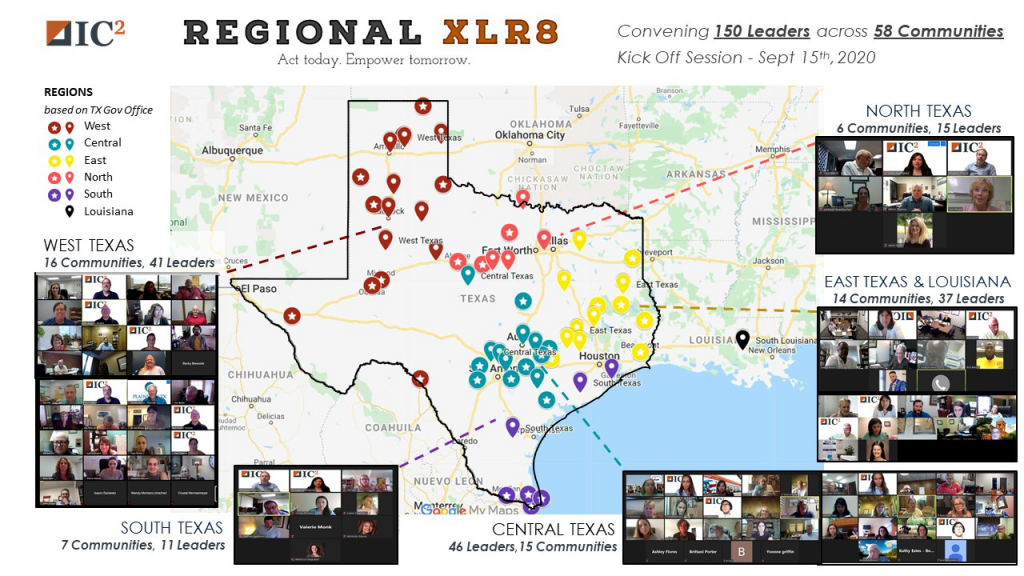 Texas map showing 58 communities part of Regional XLR8 from all over the state.