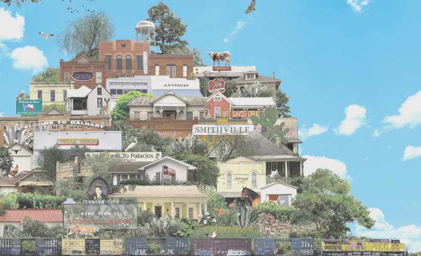 Cartoon rendering of houses and tourist areas of small cities in the Texas Hill Country.