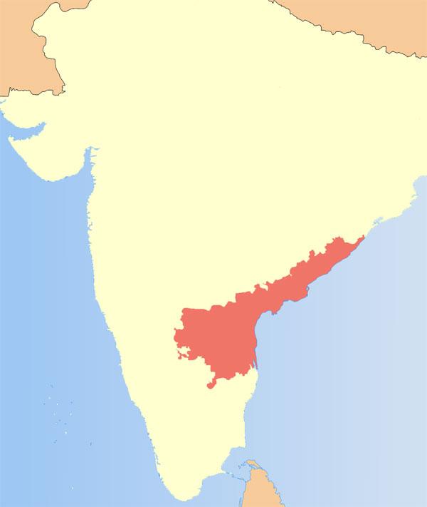 Andhra Pradesh locator map (CC-by-sa PlaneMad/Wikimedia) https://en.wikipedia.org/wiki/Andhra_Pradesh#/media/File:India_Seemandhra_locator_map.svg