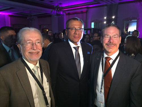 Rector Sergio Flores of ESPOL, Vice President of Ecuador Jorge Glas, and Greg Pogue